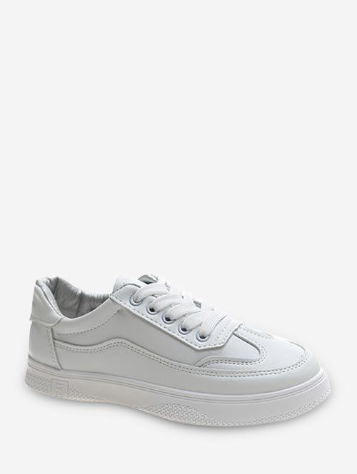 Brief Sports Leisure Lace Up Shoes - WHITE EU 38