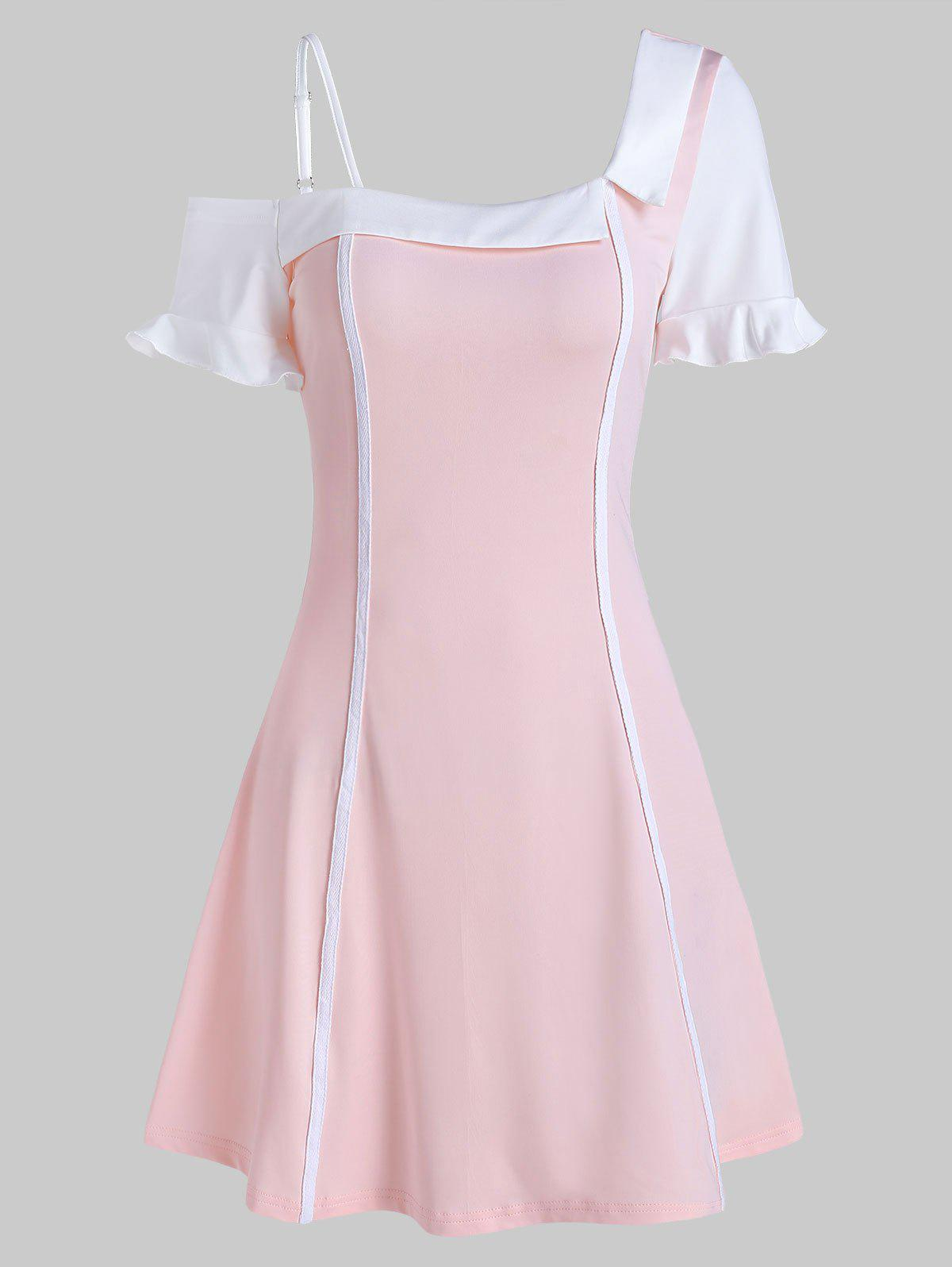 Skew Neck Ruffled Mini A Line Dress - SAKURA PINK 3XL