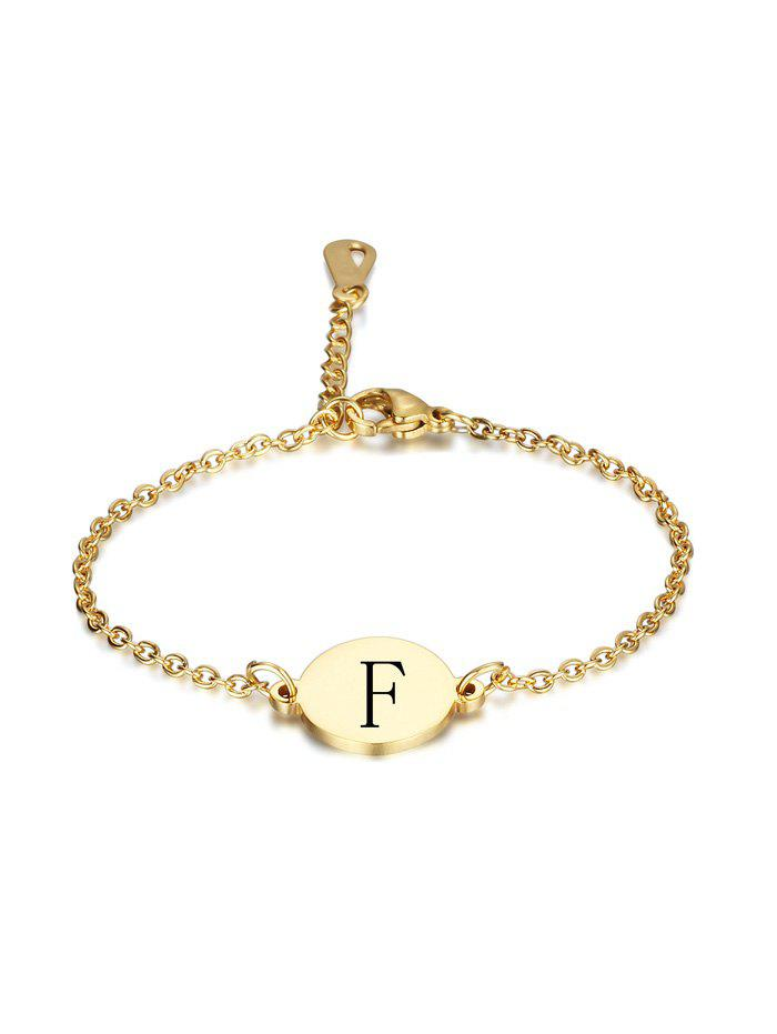 Letters Pattern Round Stainless Steel Bracelet - GOLD F