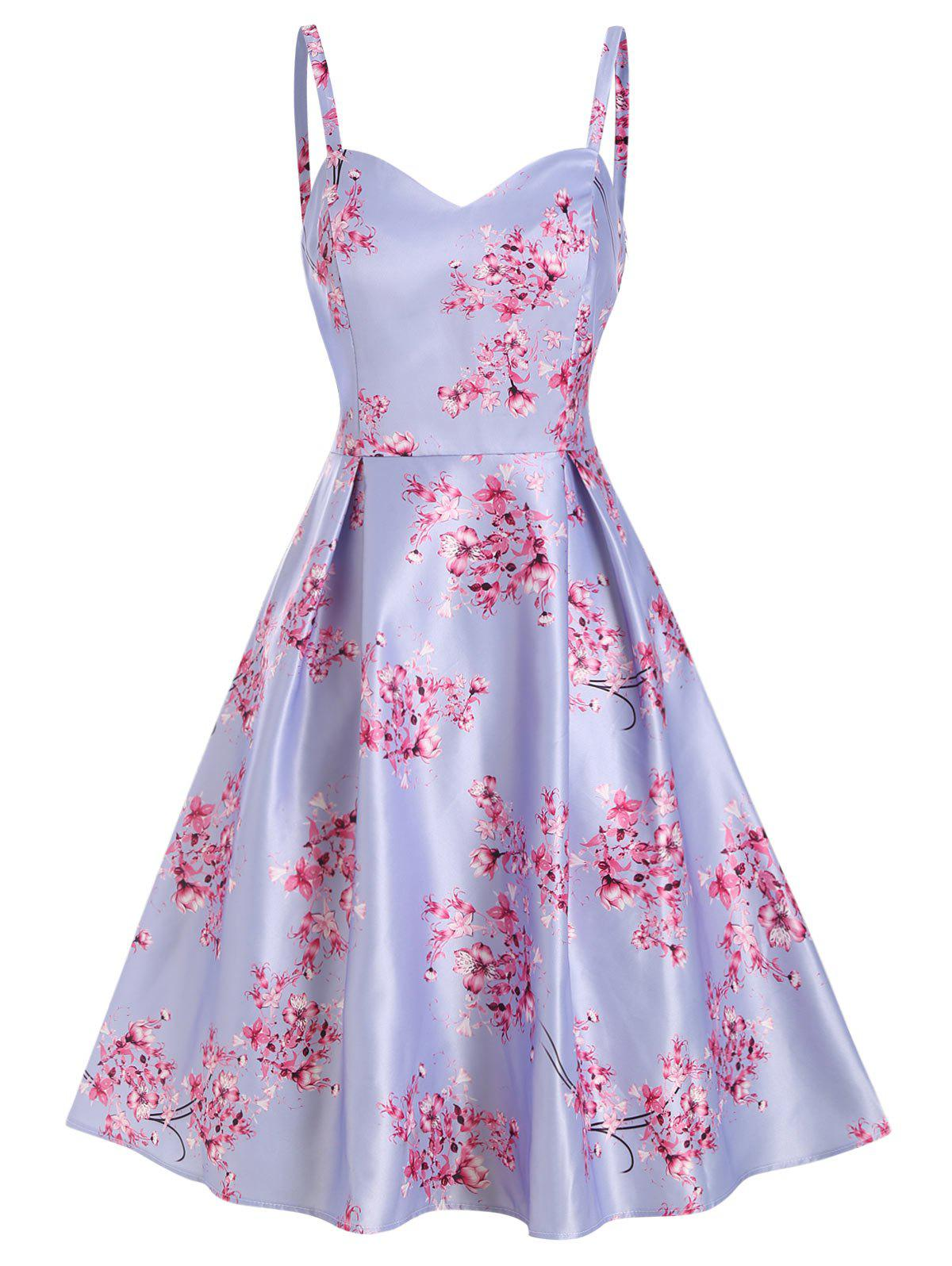 Flower Printed Sweetheart High Waisted Dress - LAVENDER BLUE M