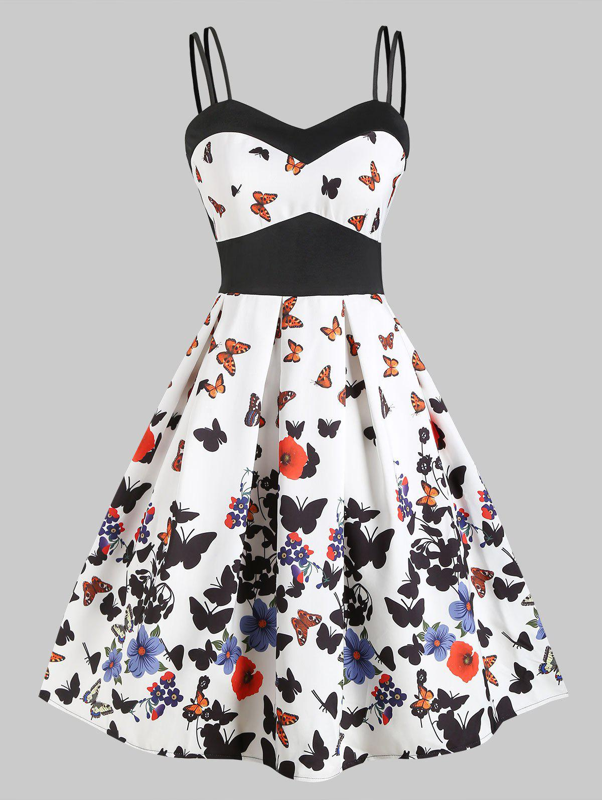 Butterfly Print Empire Waist Dual Straps Dress - WHITE S