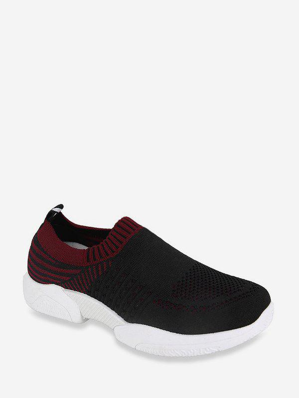 Two Tone Woven Mesh Slip On Running Sneakers - BLACK EU 38