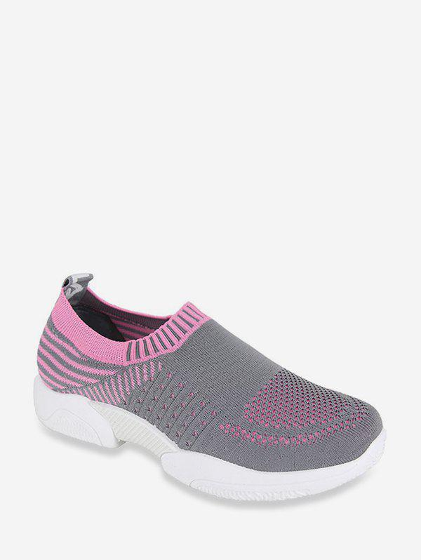 Two Tone Woven Mesh Slip On Running Sneakers - PINK EU 40