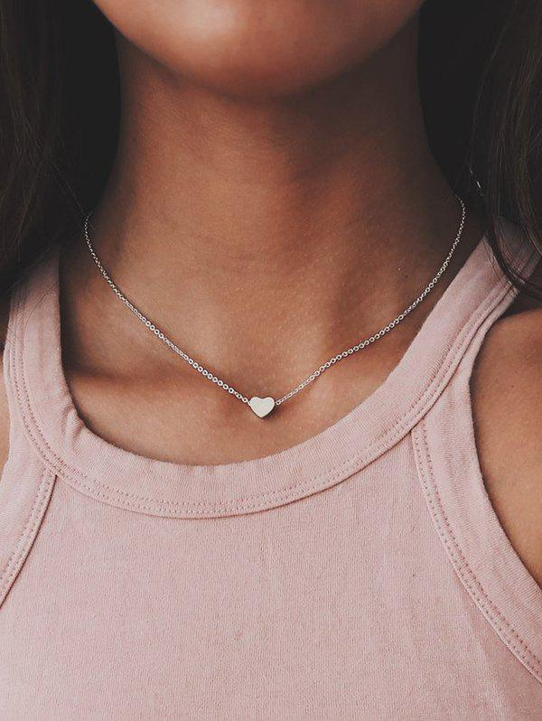 Heart Collarbone Chain Necklace - SILVER