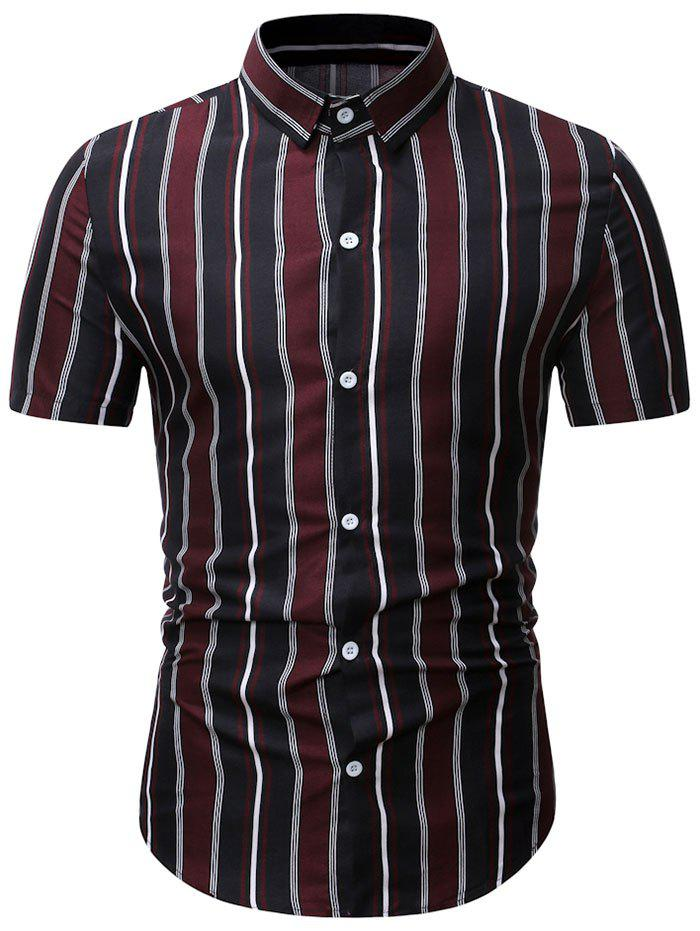 Short Sleeve Stripes Print Button Shirt - RED WINE M