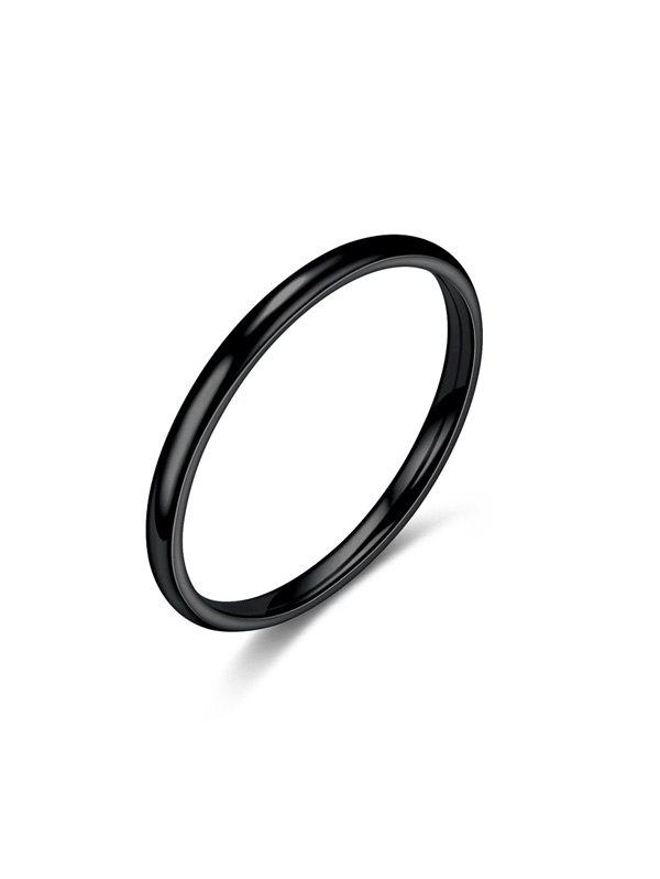 Smooth Titanium Steel Couple Ring - BLACK US 12
