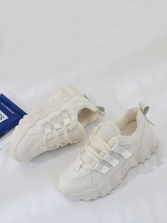 Mesh Patchwork Sports Lace-up Sneakers - BEIGE EU 38