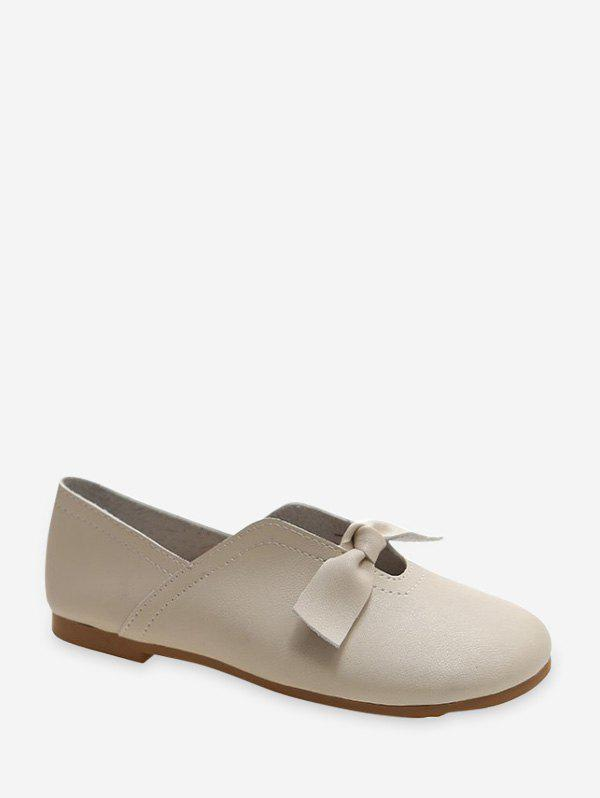 Front Knotted Soft Leather Loafer Flats - BEIGE EU 39