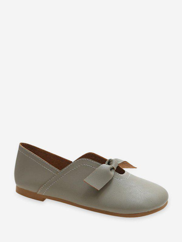 Front Knotted Soft Leather Loafer Flats - GRAY EU 39