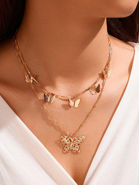 Double Layer Butterfly Charm Necklace
