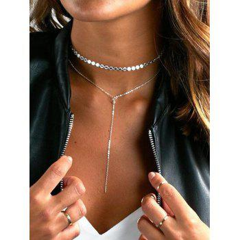 Brief Double Layered Disc Choker Necklace
