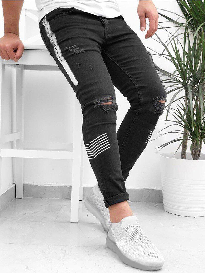 Striped Pattern Destroyed Cuffed Jeans - BLACK M