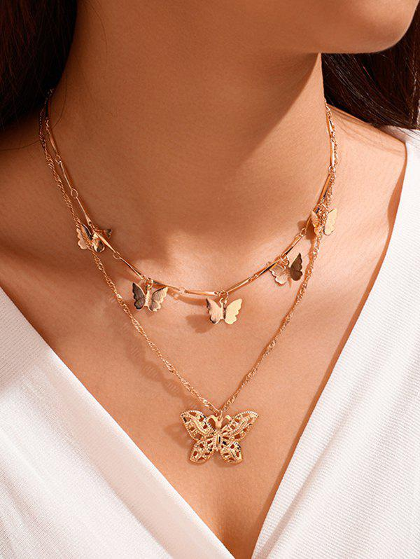Double Layer Butterfly Charm Necklace - GOLD