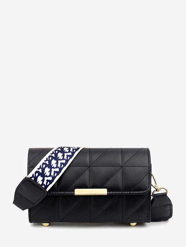 Quilted Leather Wide Strap Flap Crossbody Bag - BLACK