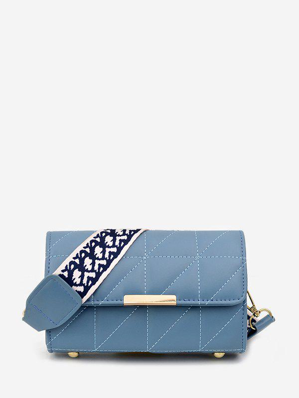 Quilted Leather Wide Strap Flap Crossbody Bag - LIGHT SKY BLUE