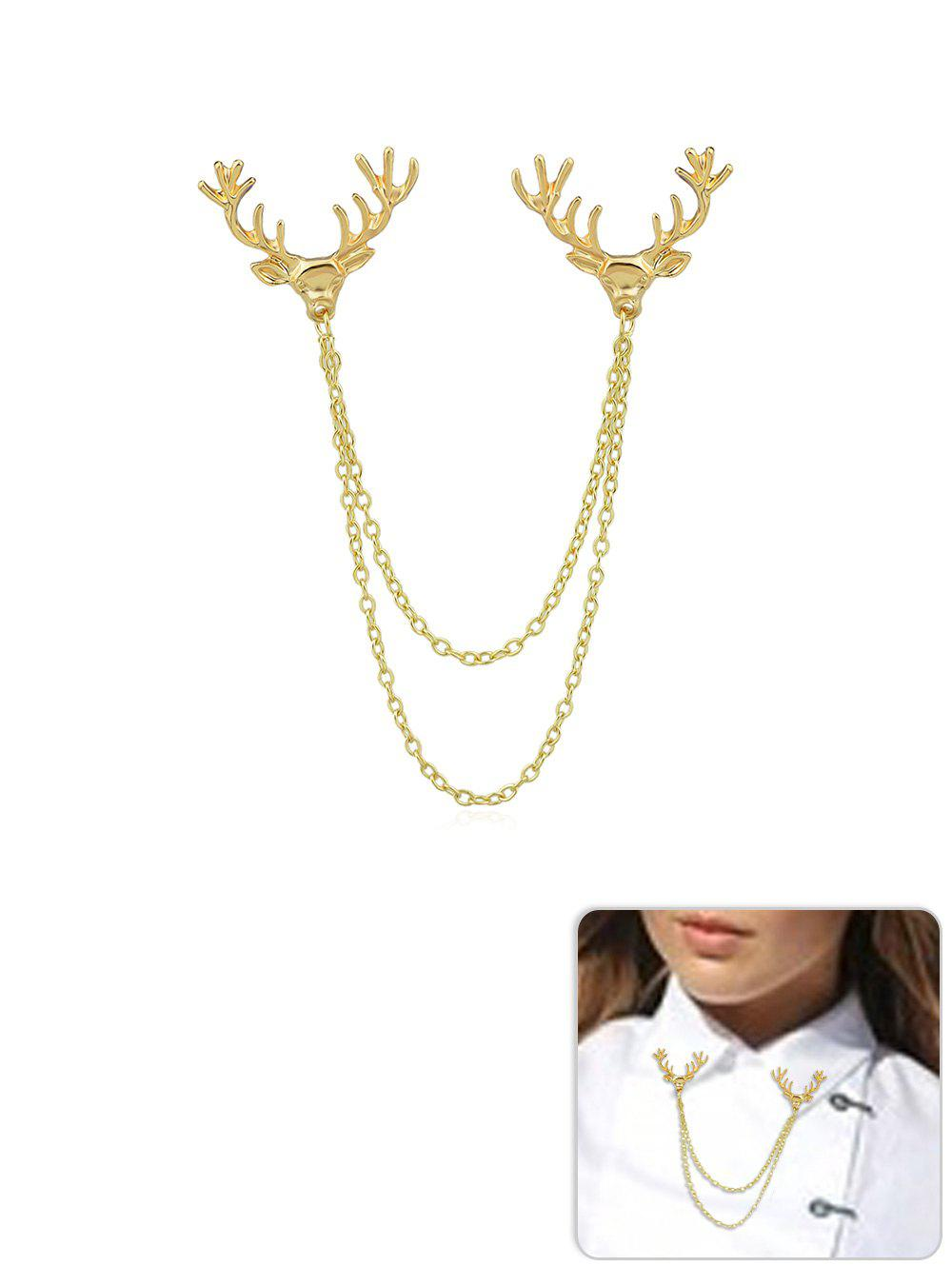 Elk Head Shape Chain Collar Brooch - GOLD