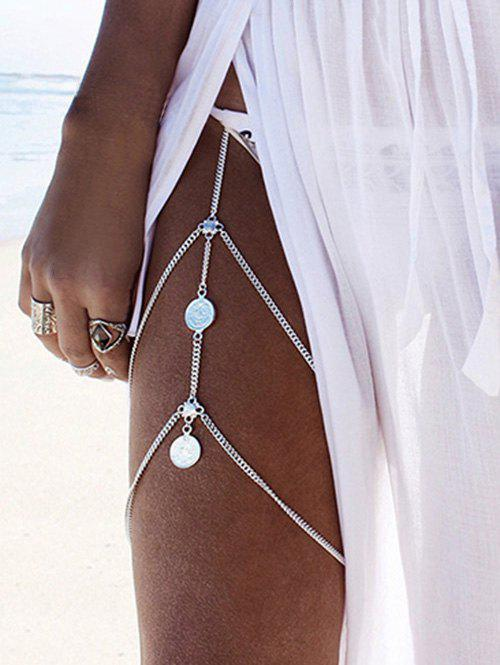 Layered Coins Thigh Chain - SILVER