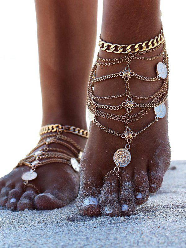 Toe Ring Layered Chain Coin Anklet - GOLD