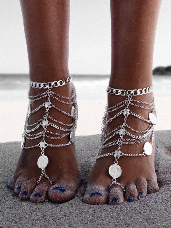Toe Ring Layered Chain Coin Anklet - SILVER
