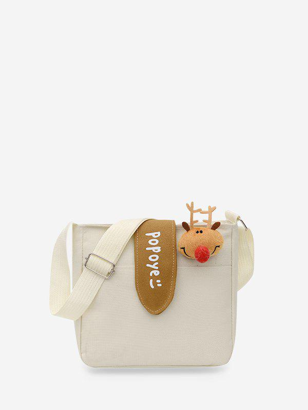 Cute Deer Canvas Small Crossbody Bag - WHITE