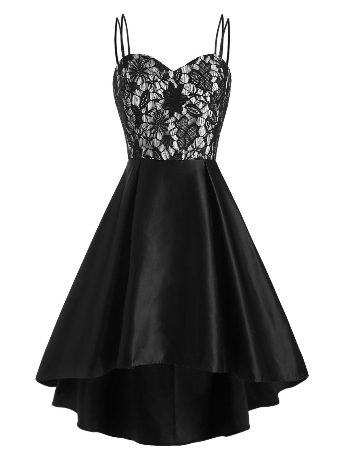 Flower Lace Empire Waist High Low Party Dress - BLACK S