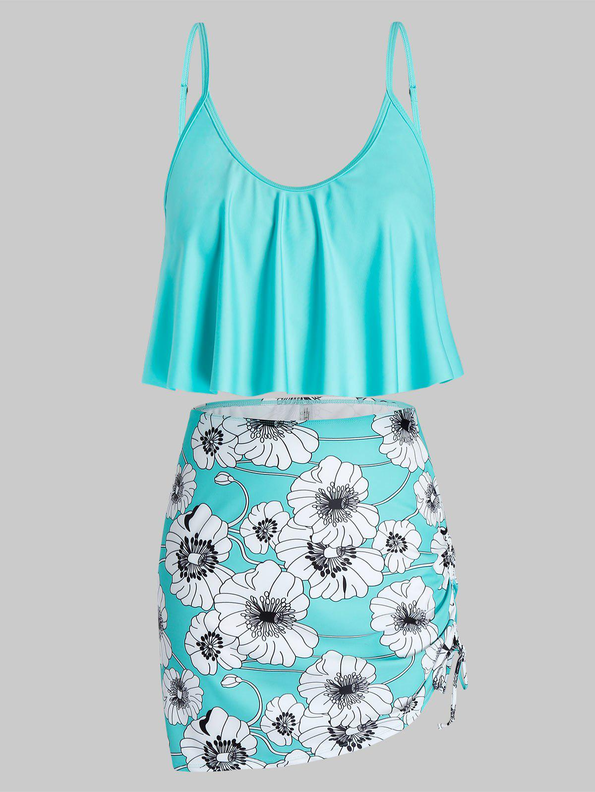 Plus Size Ruffled Cinched Floral Print Three Piece Swimsuit - CELESTE 5X