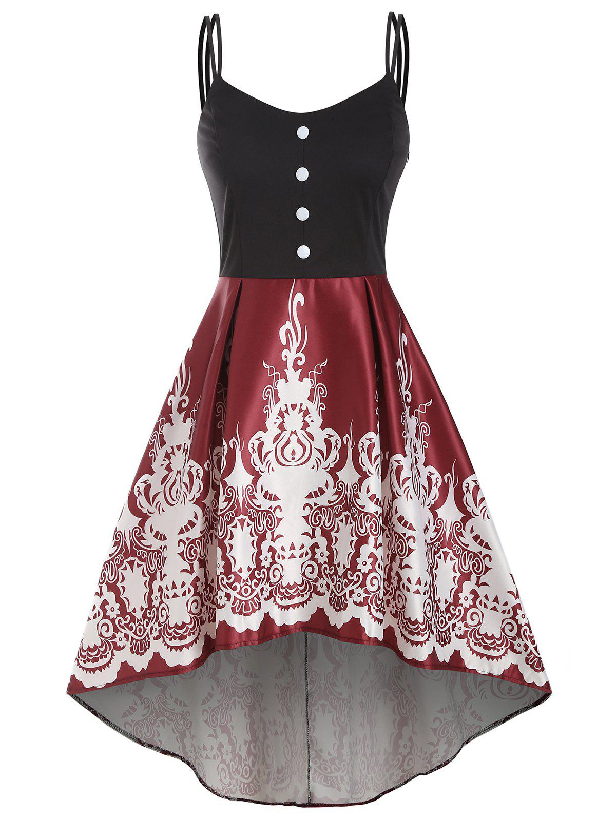 Baroque Print Mock Button High Low Dress - RED WINE L