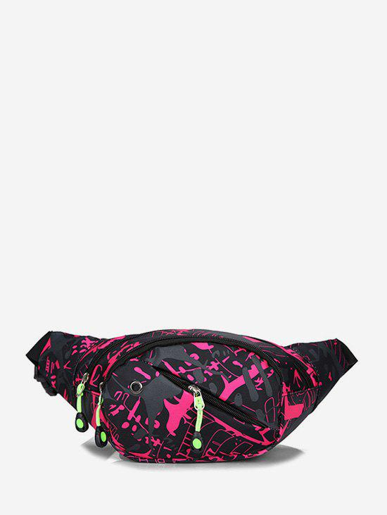 Colorful Print Casual Nylon Waist Bag - ROSE RED