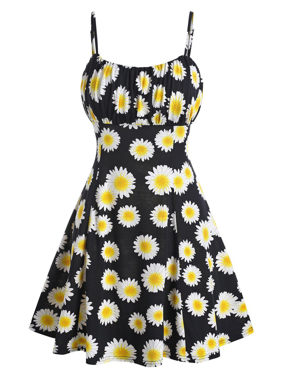 Sunflower Print Ruched Cami A Line Dress - BLACK M