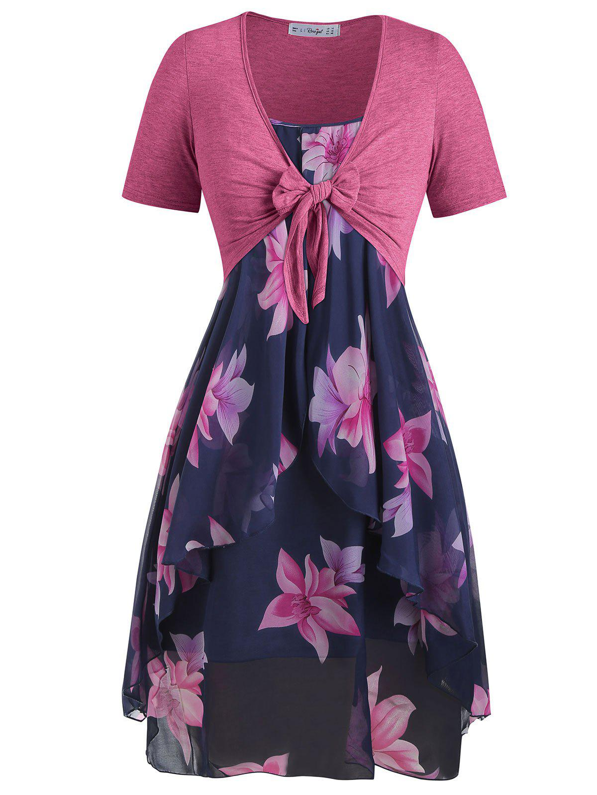 Plus Size Knot Top and Floral Chiffon Dress - MIDNIGHT BLUE 5X