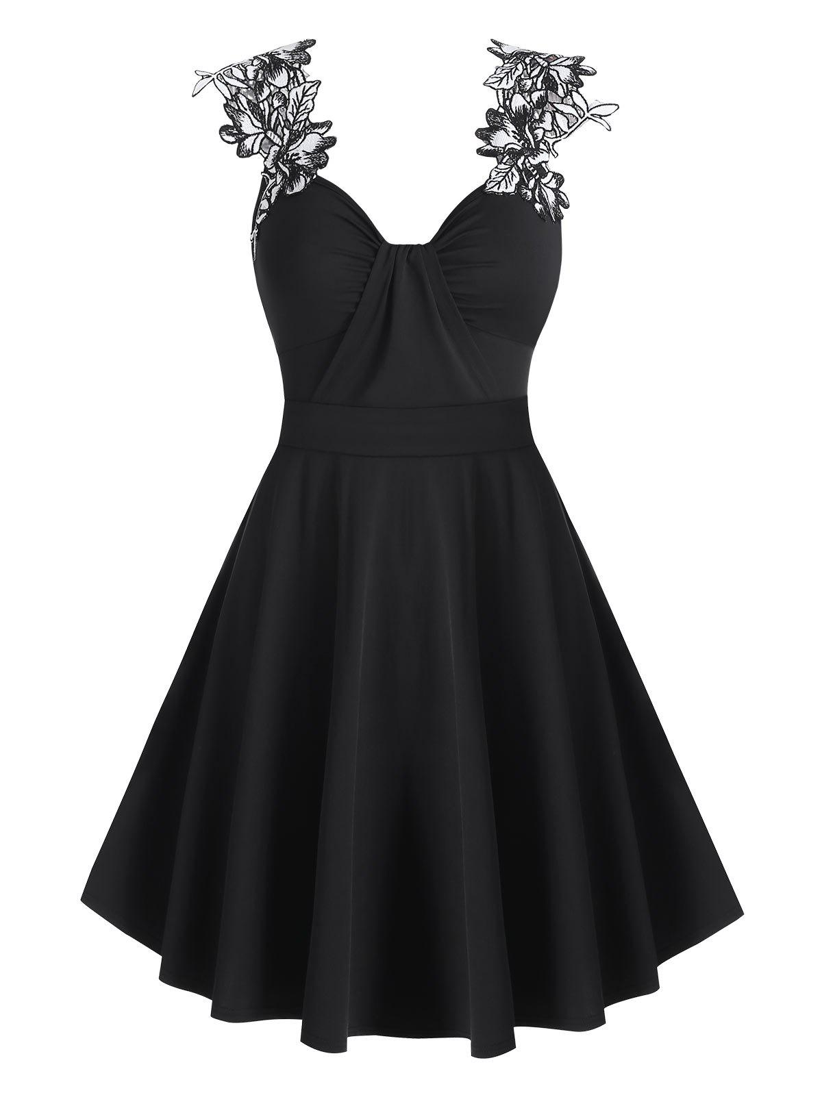 Floral Embroidery Ruched Mini Cami Dress - BLACK L