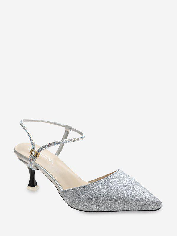 Glitter Pointed Toe Convertible Ankle Strap Pumps - SILVER EU 39