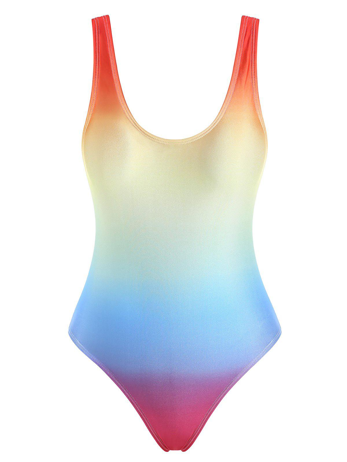 Rainbow Ombre Tank High Cut One-piece Swimsuit - multicolor A XL