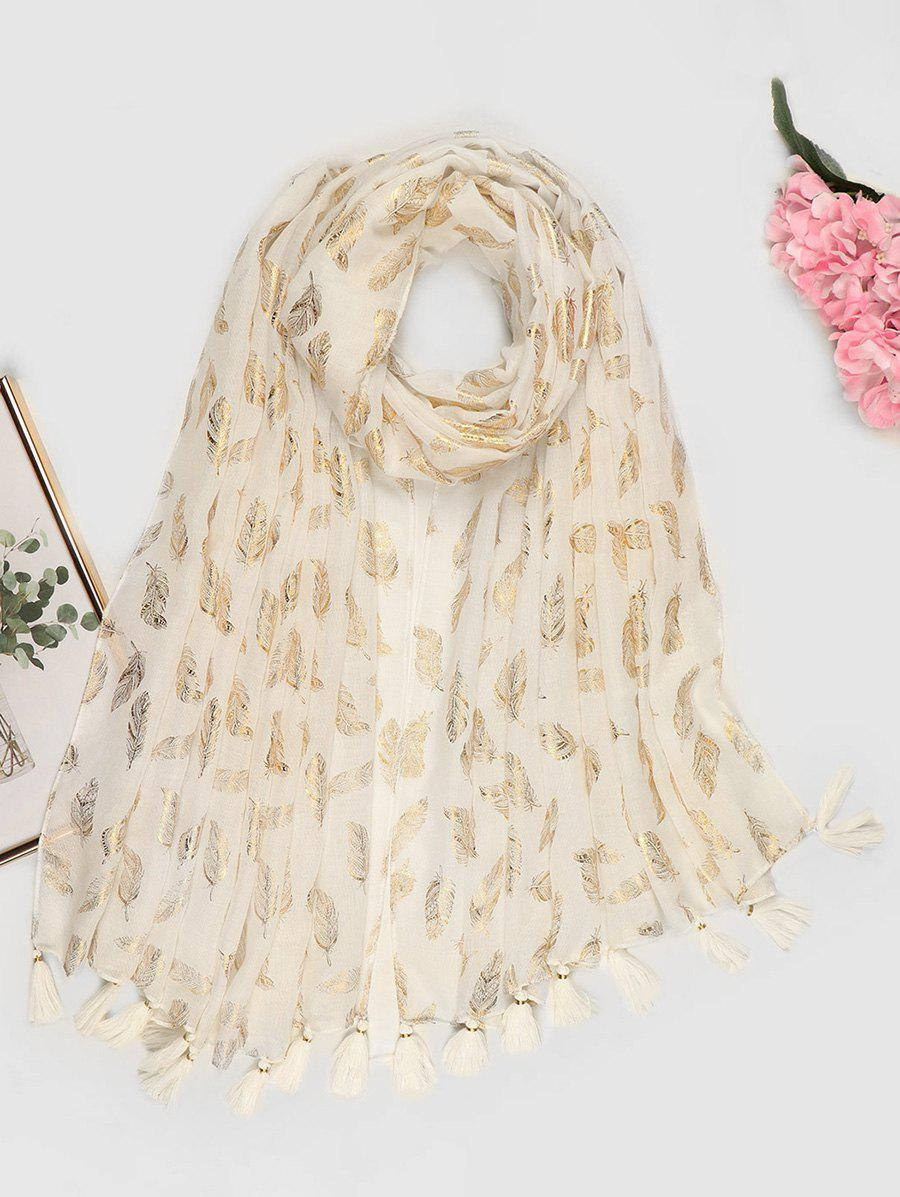 Feather Pattern Gold Stamping Tassel Scarf - WHITE