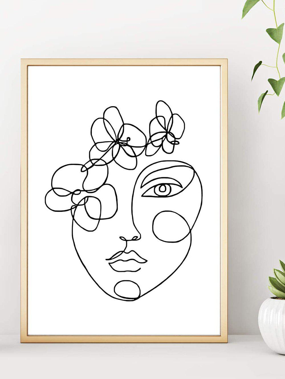 Home Decoration Flower Beauty Sketch Print Wall Poster - BLACK 40*60CM