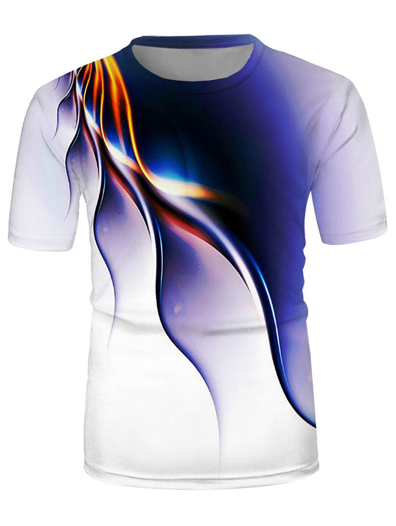 Abstract Line Print Crew Neck Short Sleeve T Shirt - multicolor A XL