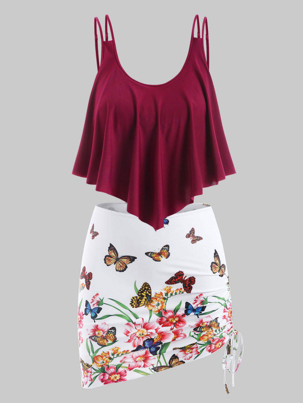 Plus Size Ruffled Butterfly Floral Print Three Piece Swimwear - RED WINE 3X