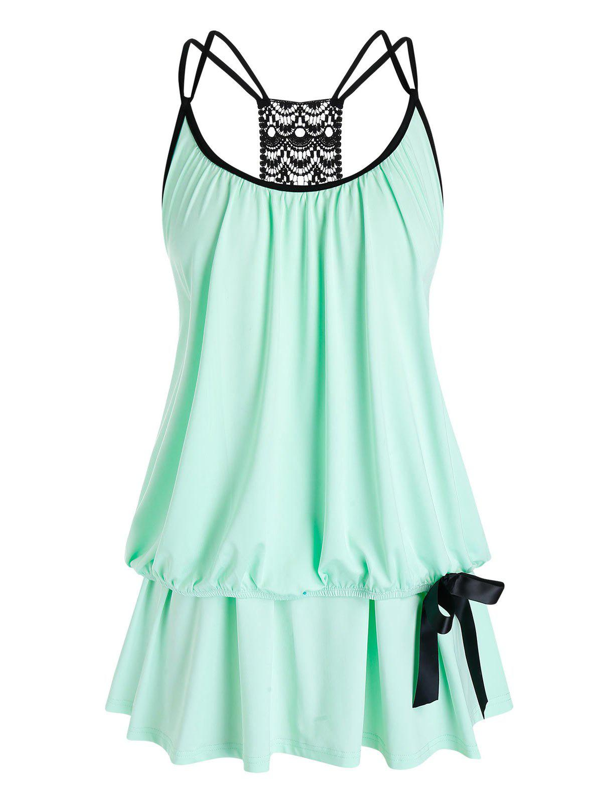 Plus Size Lace Crochet Strappy Layered Tank Top - MINT GREEN L