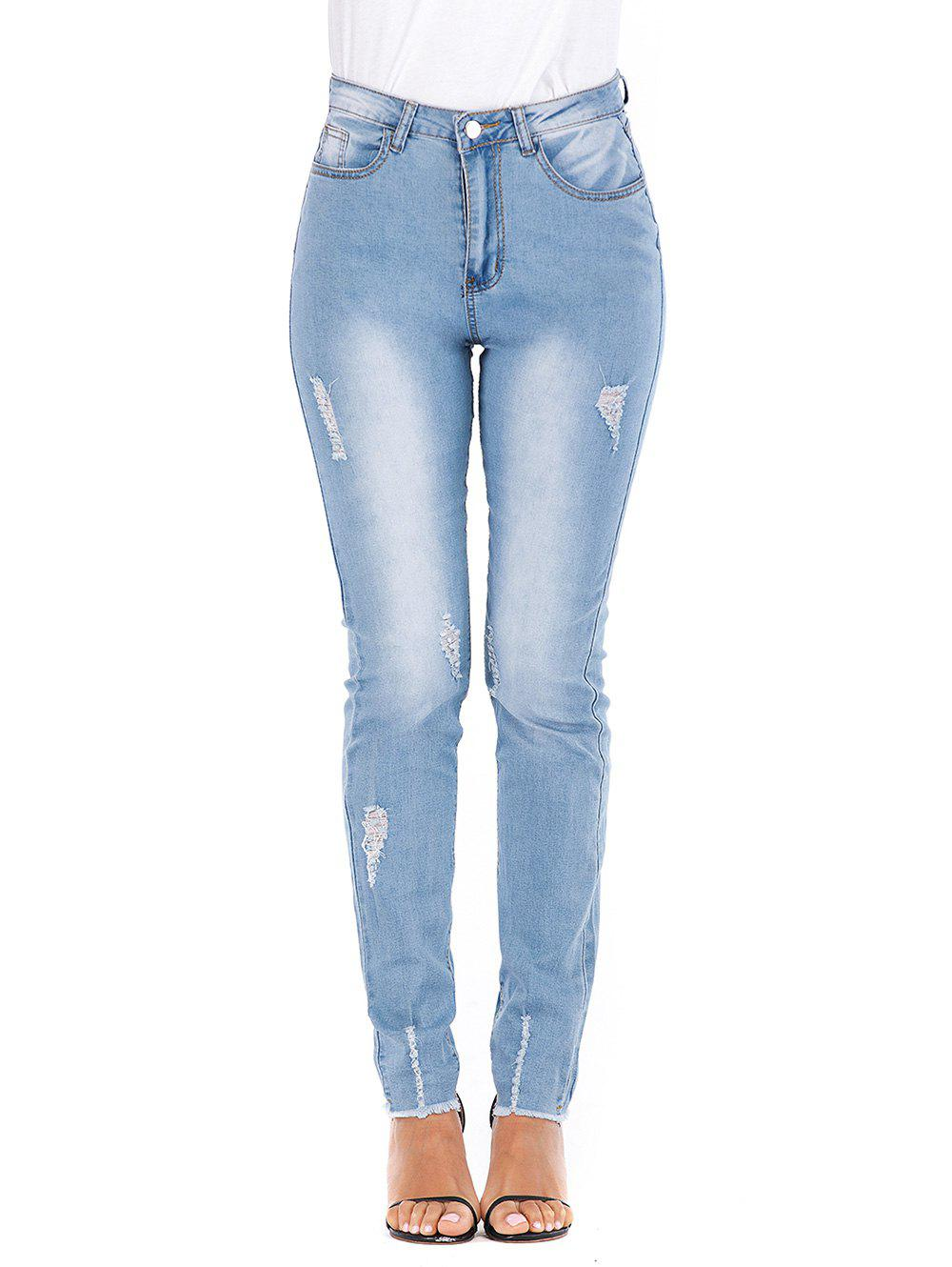Frayed Hem High Waisted Ripped Skinny Jeans - JEANS BLUE 2XL