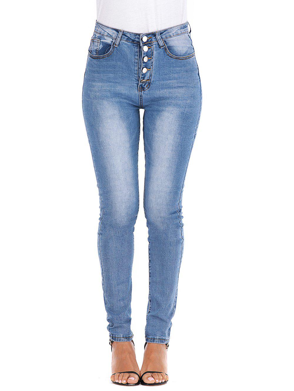High Waisted Button Fly Skinny Jeans - DENIM BLUE M
