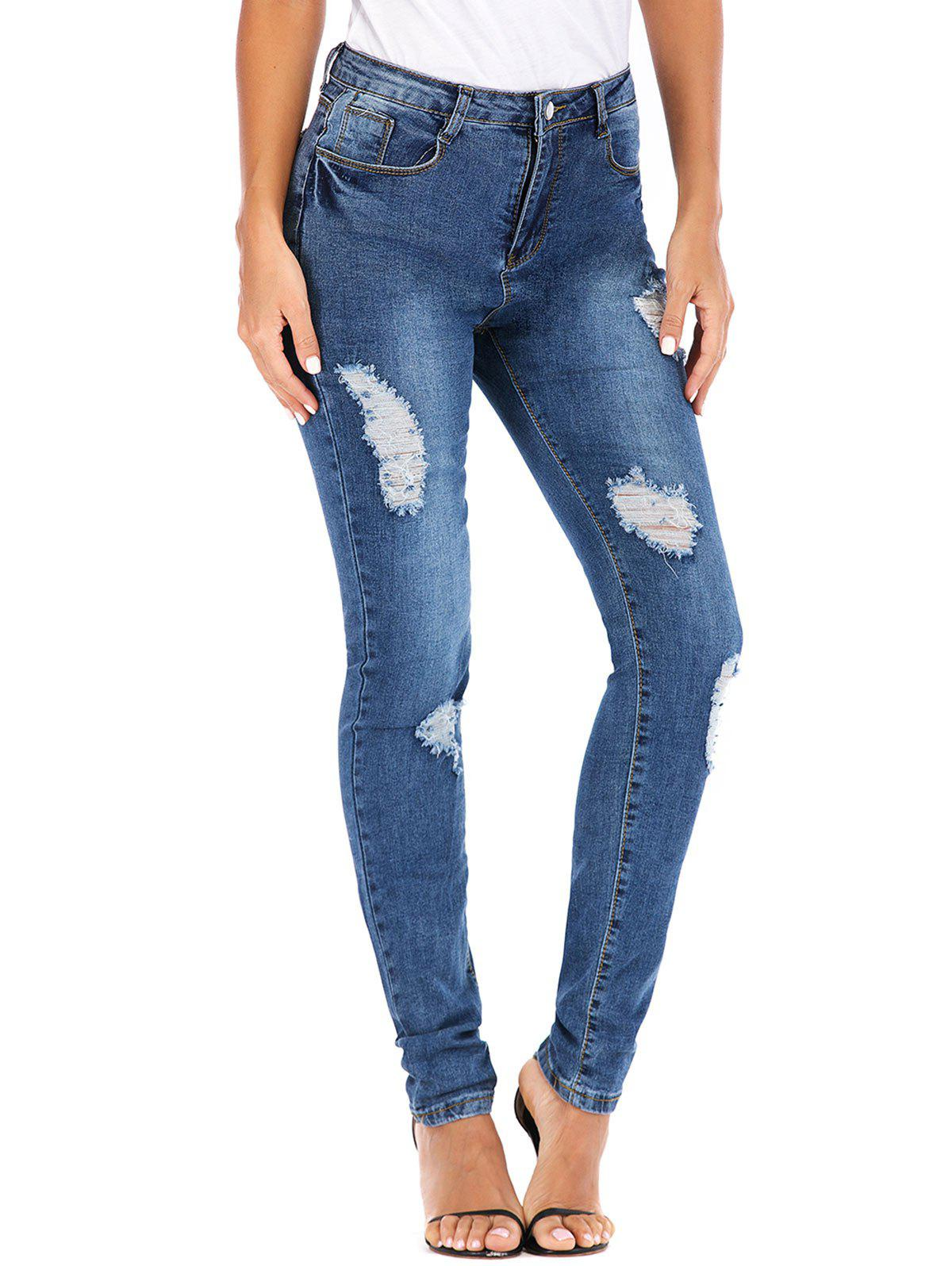 Bleach Wash High Waisted Distressed Skinny Jeans - DENIM BLUE S