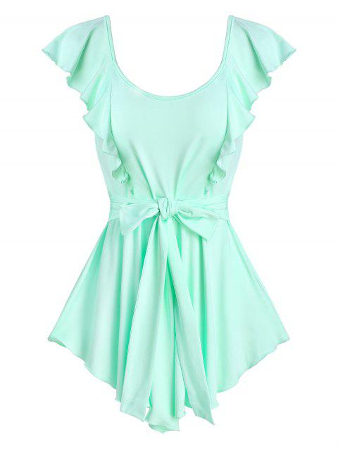 Pointed Hem Ruffle Knotted Tank Top