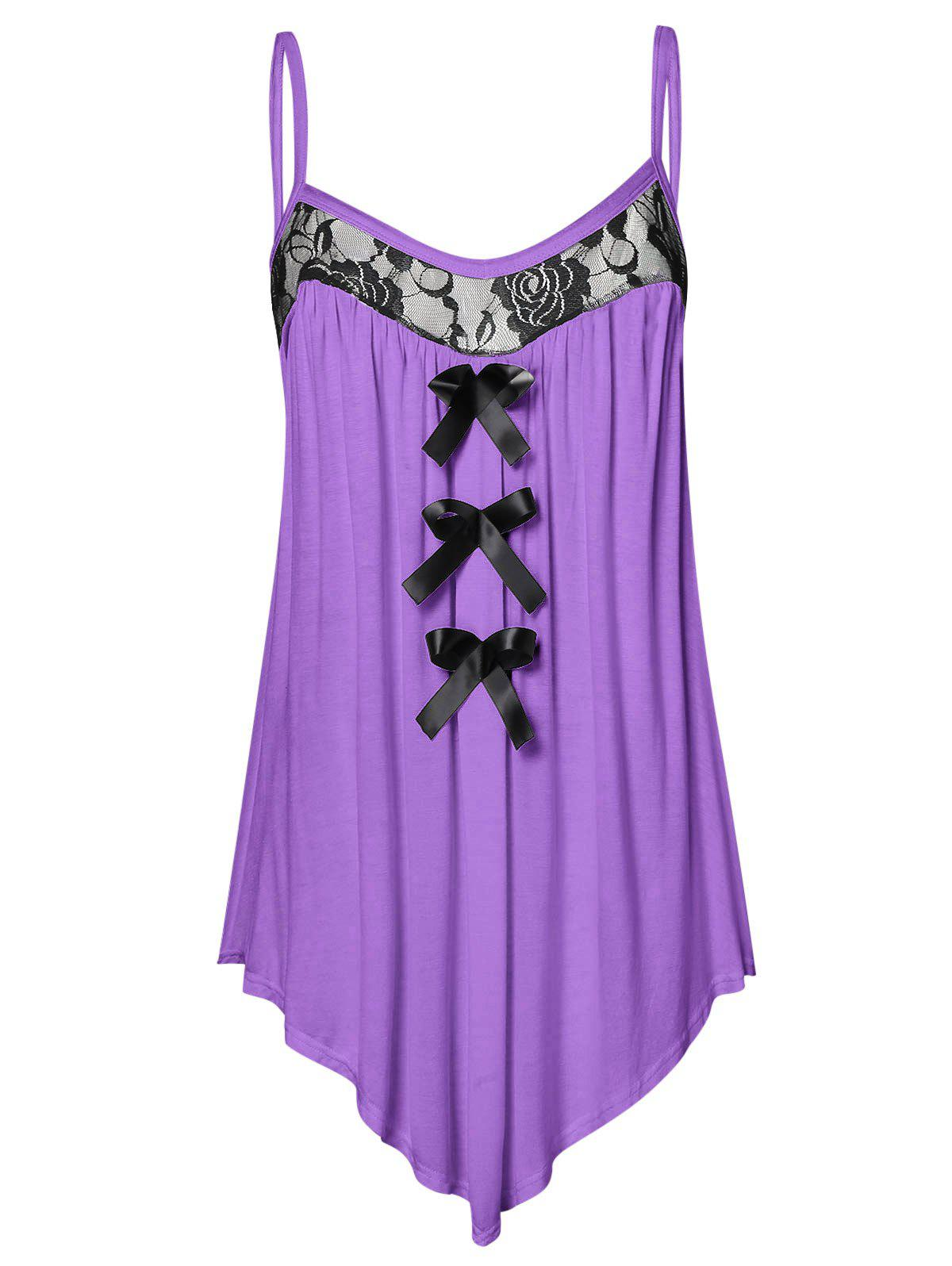 Plus Size Lace Panel Bowknot Embellished Cami Top - PURPLE FLOWER 1X