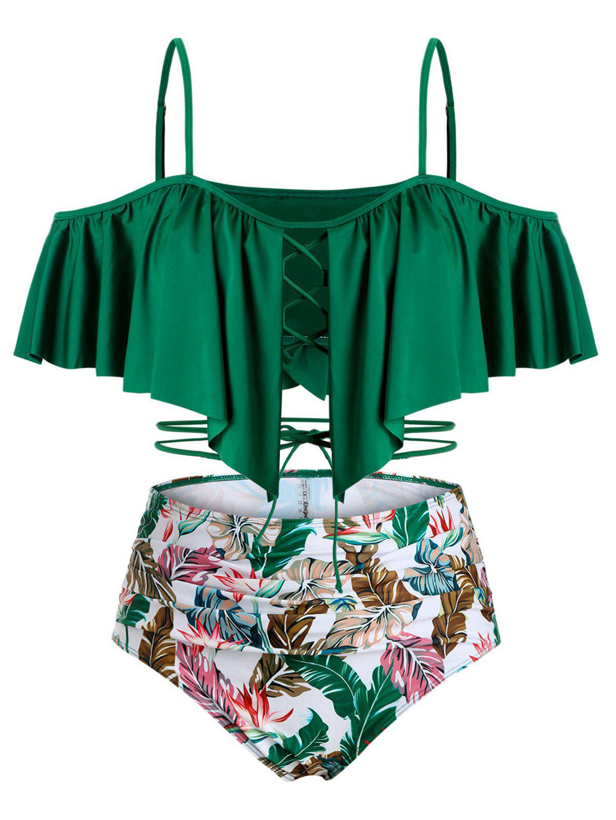 Leaves Print Lace Up Cold Shoulder Plus Size Tankini Swimwear - DEEP GREEN 2X