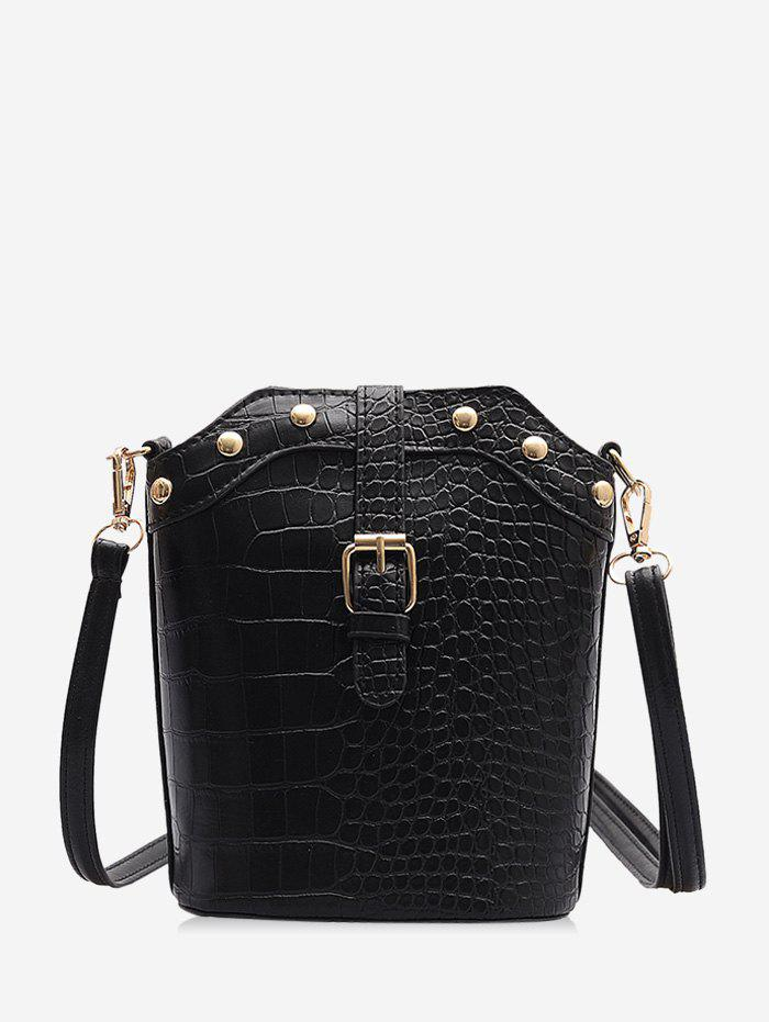 Animal Embossed Buckled Leather Bucket Bag - BLACK