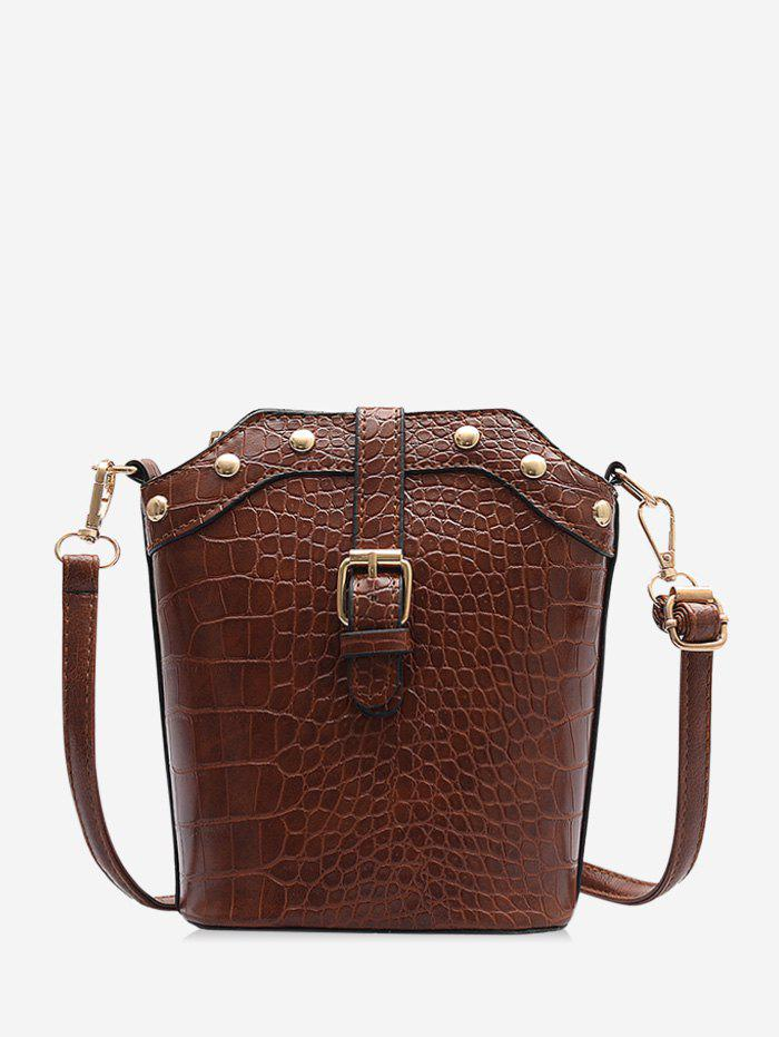 Animal Embossed Buckled Leather Bucket Bag - LIGHT BROWN