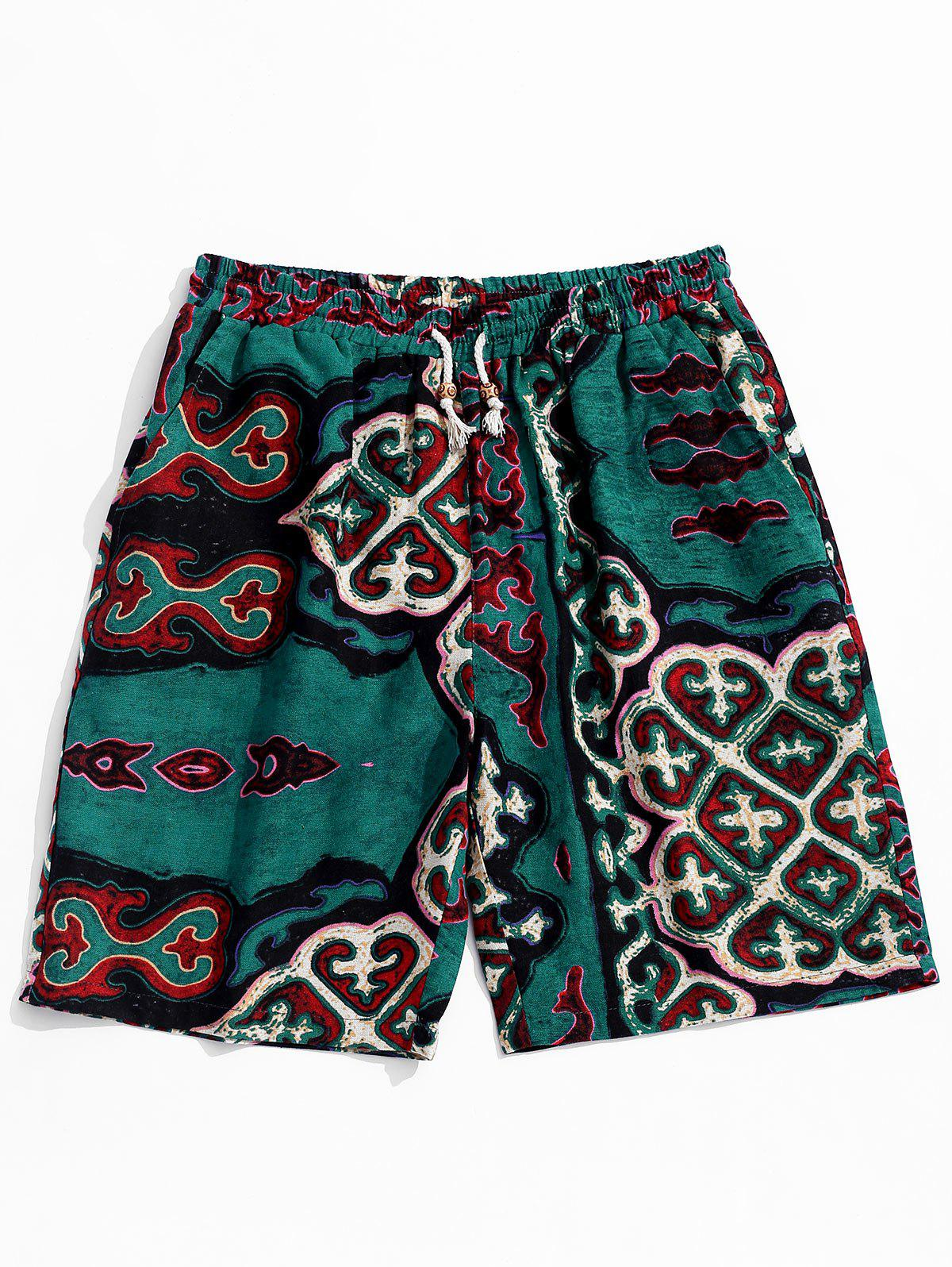Retro Geometry Pattern Drawstring Casual Shorts - SEA TURTLE GREEN XL