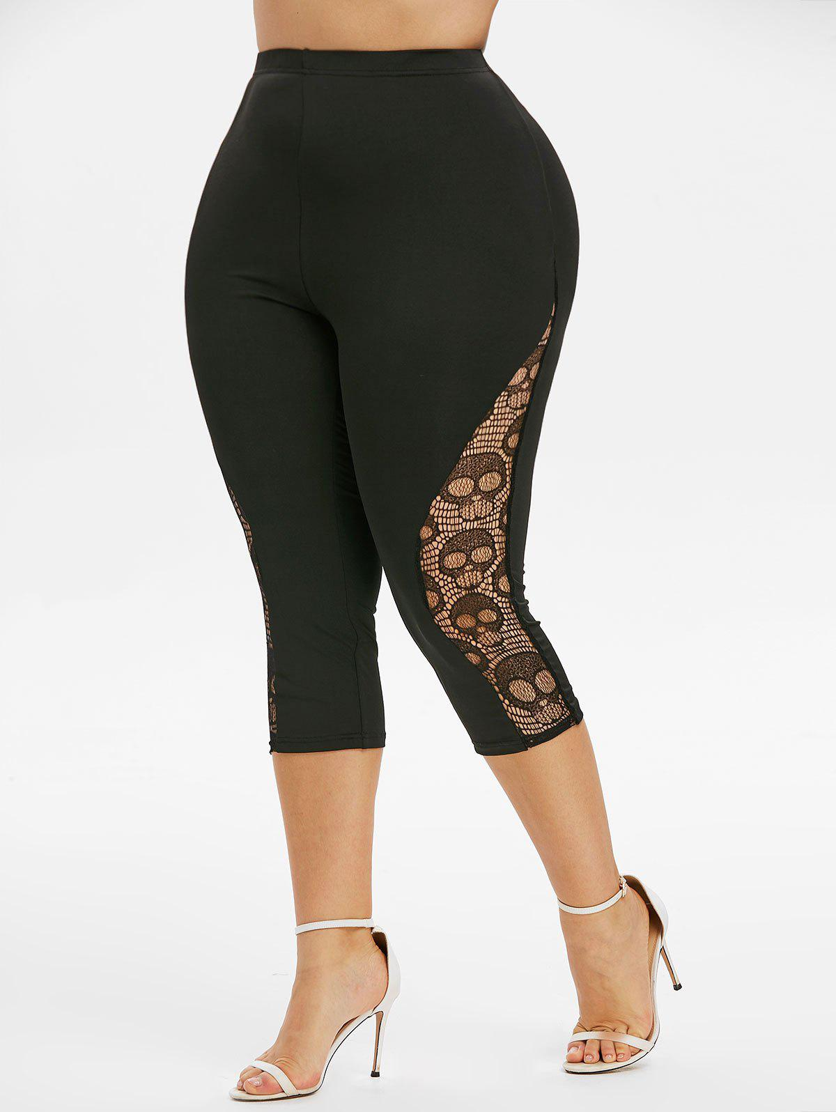 Plus Size High Rise Skull Lace Cropped Leggings - BLACK 5X