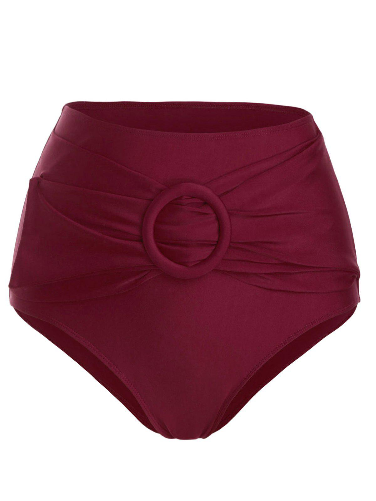 High Waisted O Ring Belted Swim Bottom - RED WINE XL