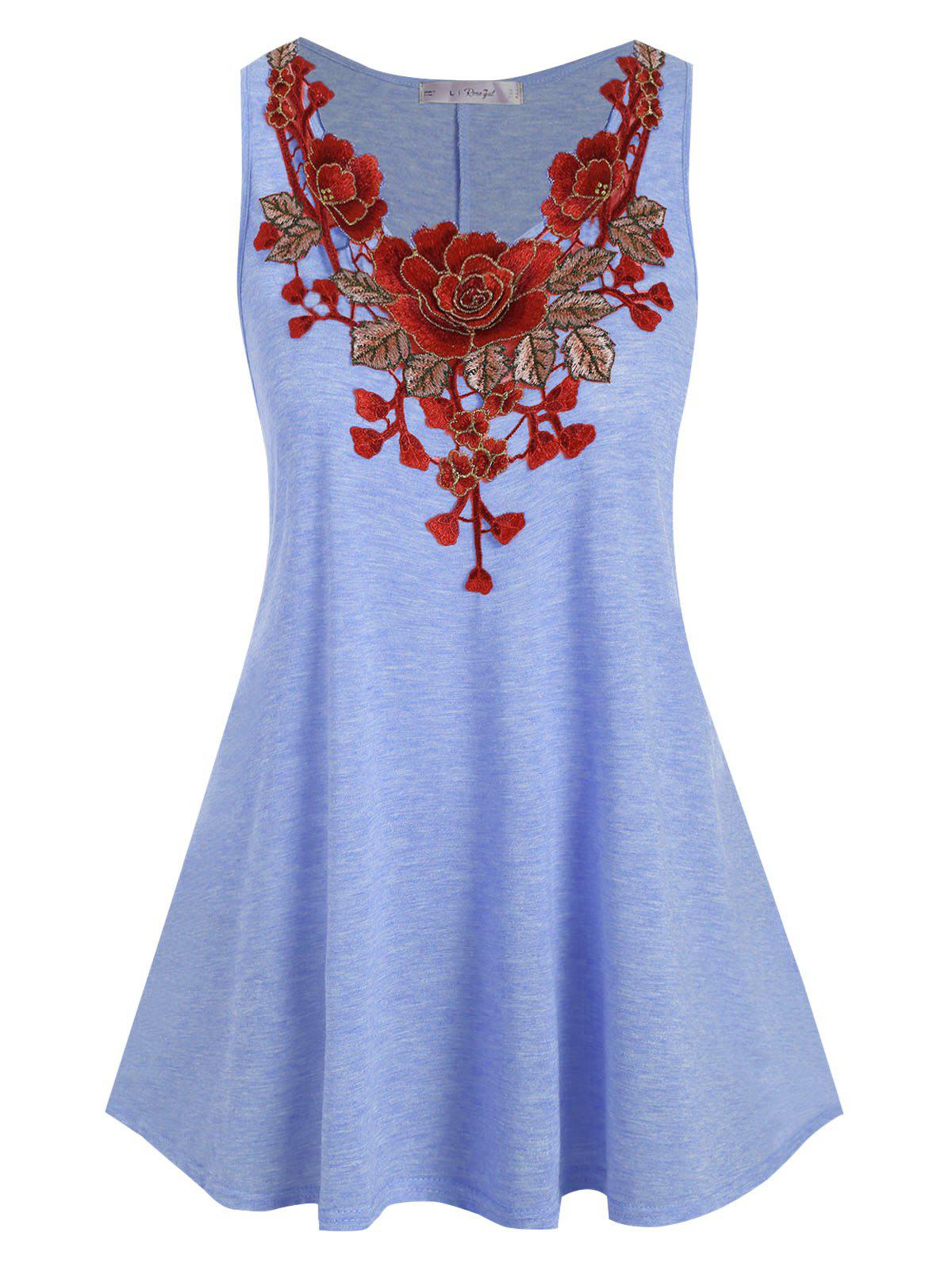 Floral Applique Plus Size Tank Top - LIGHT BLUE 1X